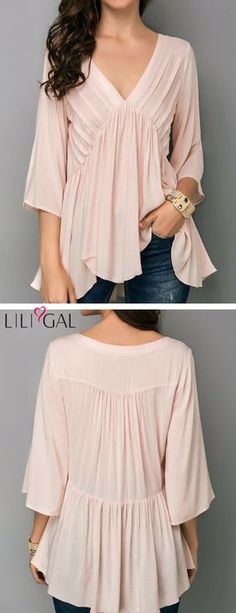 Pink Asymmetric Hem V Neck Blouse #liligal #blouse #shirts #top #womenswear #womensfashion