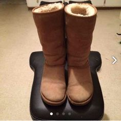 Tall Chestnut Ugg Boots Women Size 6 Tall Chestnut Ugg Boots Women Size 6 . Boots have been owned for two seasons  . Boots are in great condition . Boots are well worn , Boots Need cleaning , leather is soft. ,Right front of boot has a small surface tear see last pic right boot front bottom above sole and not on leather) Authentic~ Size 6 fits up to a size 7. Original price was $210 Please feel free to ask questions UGG Shoes Winter & Rain Boots