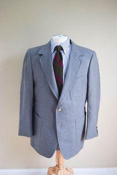 Mens Vintage 60s Flannel Gray Sport Jacket 42R
