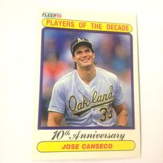 A's Jose Canseco 1990 Fleer Players Of The Decade 10th Anniversary MINT! #Athletics #OaklandAthletics