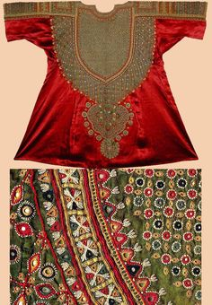 Antique Indian Costume. Woman's dress (aba) from Kutch, Gujarat. Silk satan embroidered with silk thread and mirrors; chain-stitch' ...