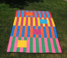 Quilt by PippaPatchwork on Etsy...Love these stripes!
