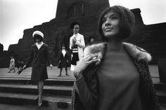 Rene Burri  EAST GERMANY. East Berlin. Treptow Russian war memorial. 1964. Fashion models.