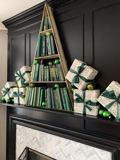 Triangle shelf with thrifted green books makes the perfect Christmas tree! Set it on our mantel and surrounded it with gifts and ornaments. Different Christmas Trees, Book Christmas Tree, Creative Christmas Trees, Book Tree, Christmas Mantels, Christmas Mom, Diy Christmas Ornaments, Christmas And New Year, All Things Christmas