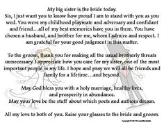 Items Similar To Toast Bride From Brother Printable Best Man Print Of The Sch Sister Wedding Blessing