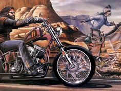 "David Mann Ghost Rider painting-  My uncle had this on his wall when I was little.  I think it was on a flag.  It always captured my attention.  Nowadays it takes me back to riding on the back of ""Chopper"" with Dad."