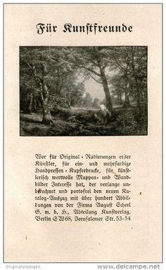 Original-Werbung/Inserat/ Anzeige 1917 - KUNSTVERLAG AUGUST SCHERL - ca. 160 X 90 mm