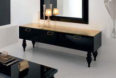 Deco or et noir | Buffet design laqué noir avec plateau laqué à la feuille d'or ...
