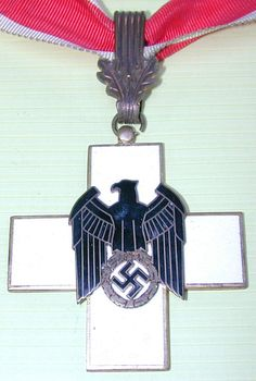 ✠ German Red Cross DRK First Class Neck Order. German Social Welfare Deutschen Rotes Kreuzes (DRK) German Red Cross Neck Cross (1st Class). The cross measures 54mm square, while the ribbon is 5-1/2 by 1-1/4 inches. ✠