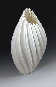 Sandstorm by Delbert Jackson, Cotton Fiber paper, Acrylic Media Origami And Kirigami, Origami Paper Art, Paper Crafts, Pottery Vase, Ceramic Pottery, Ceramic Art, Sculptures Céramiques, Sculpture Art, Paper Structure