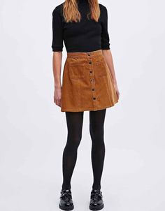 Suede button skirt with dr martens