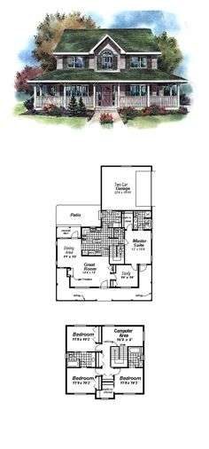 Farmhouse Style COOL House Plan ID: chp-11446 | Total Living Area: 2097 sq. ft., 4 bedrooms and 3.5 bathrooms. #houseplan #farmhouse