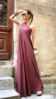 Dress Burgundy Sand / Длинный сарафан длинный сарафан в пол льняное платье летнее платье в пол
