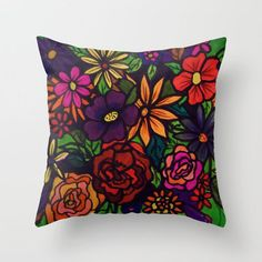 pretty! #colorful #floral #popart #pillow #art @Society6