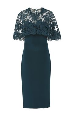 This **Cristina Ottaviano** dress, rendered in silk, features a midlength hem and a corded lace capelet attached. Trendy Dresses, Simple Dresses, Cute Dresses, Vintage Dresses, Casual Dresses, Short Dresses, Fashion Dresses, Casual Pants, Batik Dress