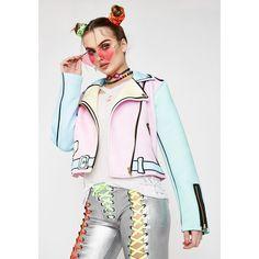 Sugarpills Pastel Realness Moto Jacket ($110) ❤ liked on Polyvore featuring outerwear, jackets, rainbow, motorcycle jacket, white motorcycle jackets, pastel jacket, biker jackets and zipper jacket