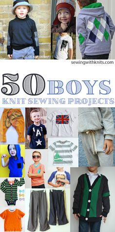 Sewing for boys? Here is a round up of 50 of our favorite Boy friendly sewing projects: Contrast Pocket Tee via shwin&shwin Initial Tee via boy oh boy oh boy Elephant Hoodie via elegance...