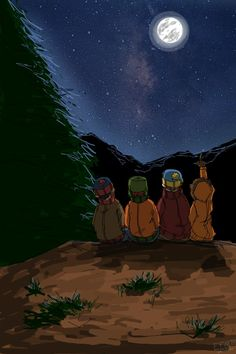 Kenny: Woah, that star is huge! Kyle: Ken, that's the mo- Stan: Dude, don't crush his dreams! Kyle: Oh, okay. Kenny: I bet that star is big enough to fit our school on it! Cartman: That's the moon, dumbass! Kyle/Stan: CARTMAN!