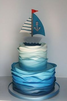 Pastel navy. awesome nautical cake! I won't b making this but love the ripples! Cake vintage pram by cake by kim, via Flickr Pink and cream ...