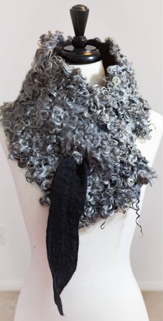 Excited to share the latest addition to my #etsy shop: Organic Gotland Sheep Black Merino Wool Curls Felt Cowl Boa Scarf Gotland Lamb Curls Locks Wet Felted Gift for Her Fur Collar Wearable Art