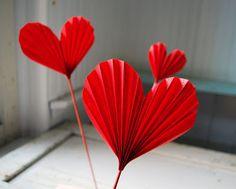 Folded Paper Hearts • via House 8810