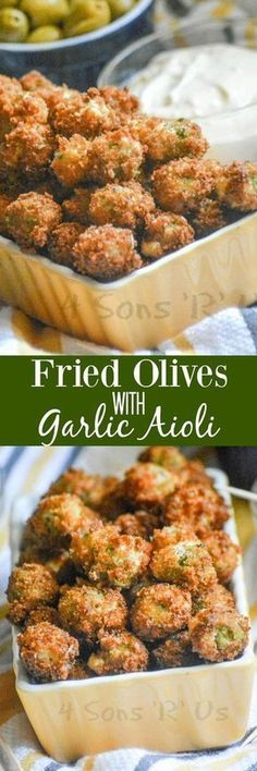 A crispy treat with a briny, sweet surprise hidden inside- these Fried Olives with Garlic Aioli are the perfect finger food for your next gathering. Growing up I hated cucumbers. Turns out 30 years later, still totally loathe them. That probably explains Finger Food Appetizers, Appetizer Dips, Yummy Appetizers, Appetizers For Party, Finger Foods, Appetizer Recipes, Party Recipes, Holiday Recipes, Snacks Für Party