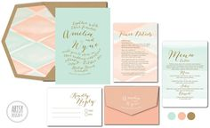 GOLD CALLIGRAPHY WEDDING Invitations - Mint Blush Pink Gold - Watercolour Envelope Liner