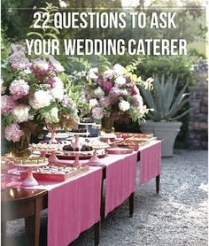 22 Questions to Ask Your Wedding Caterer. At the bottom of the page there are also links to questions you should ask your photographer, venue owner, etc.