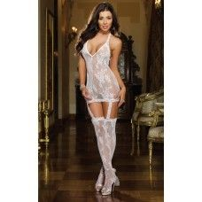 Light up his eyes in this seductive lace garter dress silhouette. Floral stretch lace halter dress with attached garters and thigh high lace stockings. Thong not included. Sexy Lingerie, Honeymoon Lingerie, White Lingerie, Wedding Lingerie, Vestidos Halter, Garters And Stockings, Motif Floral, Floral Lace, Stretch Lace