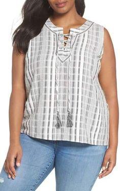 5d996ab9a9e7c Vince Camuto Lace-Up Stripe Blouse (Plus Size)
