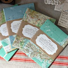 Envelopes made from vintage maps. Kraft paper wrap w/ label. Image is not found on this link. Repinned.