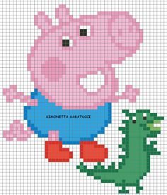 SCHEMA GEORGE Knitting For Kids, Baby Knitting, Knitting Charts, Knitting Patterns, Cross Stitch Designs, Cross Stitch Patterns, Peppa Pig Family, Baby Afghan Crochet Patterns, Graph Paper Art