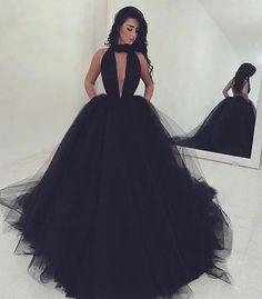 Sexy Key-Hole Sweep Train Backless Black Prom Dress                                                                                                                                                                                 More