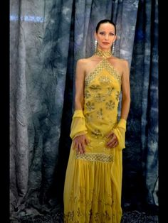 Gold chiffon gown