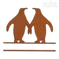 Couple Penguin Embroidery Frame