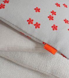 handmade cushions    neutral + orange