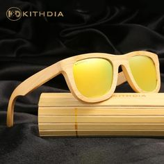 9aee593ac8d07 FuzWeb KITHDIA TOP er Men Wood Bamboo Sunglasses New Polarized Wood  sunGlasses Original Box Retro
