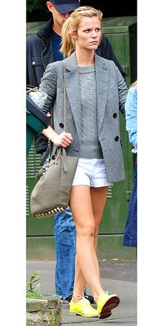 Brooklyn Decker | Gray tweed, white shorts, fluorescent oxfords for chilly nights