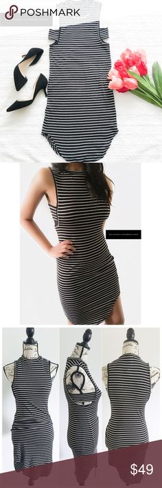 """NWT Romeo & Juliet Couture Dress ✦this black & white striped dress is fitted & stretchy w/a mock turtleneck & slits on the side of the chest✦{I am not a professional photographer, actual color of item may vary ➾slightly from pics}  ❥chest:10"""" ❥waist:14"""" ❥length:31""""/36"""" higher on sides ❥approx measurements taken flat ➳material/care:rayon/hand wash  ➳fit:true  ➳condition:new w/tag   ✦20% off bundles of 3/more items ✦No Trades  ✦NO HOLDS ✦No transactions outside Poshmark  ✦No lowball…"""