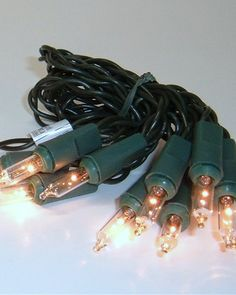 Battery Operated Lights Set  10 Clear Lights - Green Cord