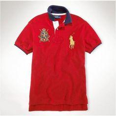 Hot sale men ralph lauren 1924 big pony polo red black,ralph lauren  promotional code