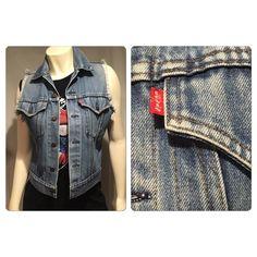 Vintage 80s Levis hand cut Denim vest Vintage 80s Levis hand cut Denim vest. No holes stains rips or tears . Fringing at sleeve opening. Vintage Jackets & Coats Vests