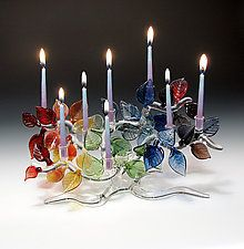 "Tree of Life Menorah, Rainbow Leaves by Bandhu Scott Dunham (Art Glass Menorah) (7.5"" x 11.5"")"