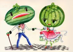 this is a kitschy image of two watermelon people dancing in snazzy clothes.