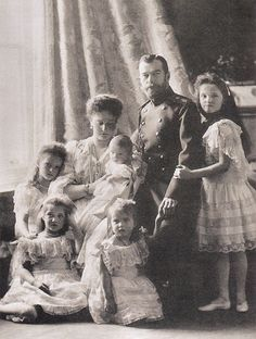 The Romanov family in 1904.  14 years later they would all be brutally murdered while prisoners of the Red Army during the Russian Revolution.