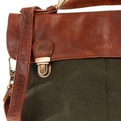 LECONI kleine Umhängetasche Schultertasche Leder Canvas grün LE3026 Kleine  Umhängetasche, Taschen Damen, Handtaschen, 143d7db52f