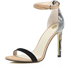 River Island Beige snake print barely there sandal heels ($90) ❤ liked on Polyvore featuring shoes, sandals, heels, beige, heeled sandals, shoes / boots, women, beige shoes, beige sandals and famous footwear