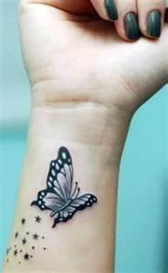 Cute Tattoos On Wrist, Wrist Tattoos For Women, Pretty Tattoos, Tattoos For Women Small, Beautiful Tattoos, Colorful Butterfly Tattoo, Butterfly Wrist Tattoo, Butterfly Tattoos For Women, Butterfly Tattoo Designs