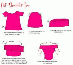 Off-shoulder shirtje maken van oud t-shirt. Inclusief tutorial.