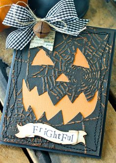 handmade Halloween card for The Sizzix Challenge . Frightful Halloween by Hilary Kanwischer . spiderweb embossed panel with pumpkin face cutout . Theme Halloween, Halloween Paper Crafts, Halloween Scrapbook, Halloween Tags, Halloween Projects, Fall Halloween, Handmade Halloween Cards, Halloween Ideas, Cricut Halloween Cards
